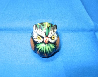 Miniature, hand made, hand painted, owl, ceramic, garden, dollhouse, diorama, collectible (owl)