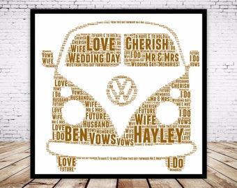 Personalised Word Art Gift Framed VW Volkswagon Campervan Wedding Anniversary Engagement Birthday Son Daughter Auntie Sister