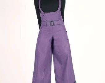 Masmira at Chilia purple denim overalls