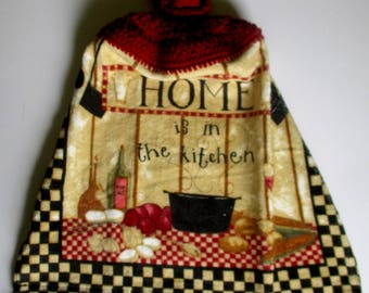 Home is in the Kitchen Crochet Top Hanging Kitchen Towel with Decorative Bottom Trim