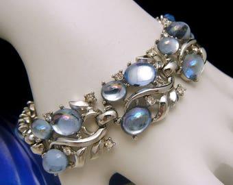 Crown Trifari Jewels of Fantasy Bracelet Silver Tone Blue Mirrored Cabochons Rhinestones