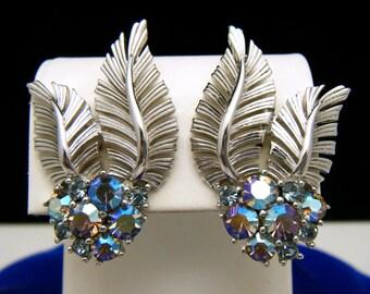 Vintage Crown Trifari AB Rhinestone Earrings Silver Tone Fronds Clip Ons