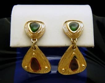 Crown Trifari 1960s Green Orange Plique Dangle Earrings Gold Tone Clip Ons