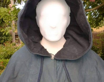 Waxed Cotton and Melton Wool Cloak with Mantle and Liripipe Hood