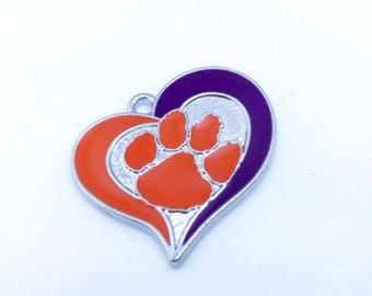 Clemson Tiger Charm, Clemson Tiger Paw Charm,Clemson Tiger Heart Charm