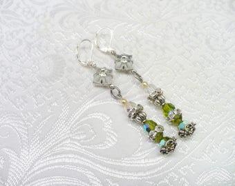 OOAK Vintage Authentic Art Deco Camphor Glass/Ivory PEARL/Rhinestone/GREEN Crystal Earrings - silver tone- lever backs - repurposed vintage-