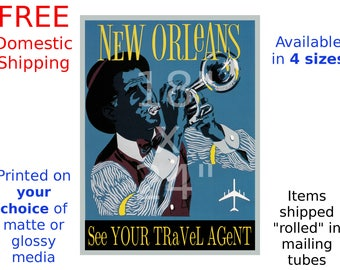 New Orleans - Vintage Airline Travel Poster (187114341)