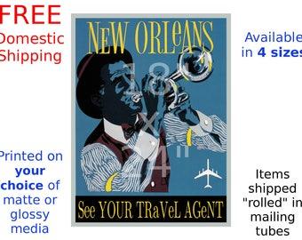 New Orleans - Vintage Airline Travel Poster (187114341)