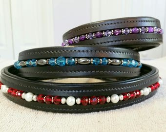Hand Beaded Padded Leather Dog Collar