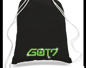 New CONCERT CINCH BACKPACK (Keep your fan merch close during the concert!) GOT7, Got7 Logo Cotton Canvas Trendy Bag