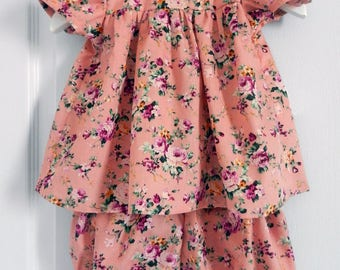 Set baby bloomer and blouse print pink roses - 18 months