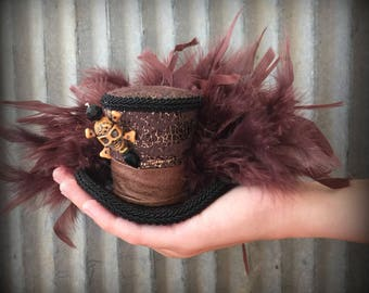 Pirate Micro Mini Top Hat, Halloween Mini Top hat, Mad hatter hat, Faux Snakeskin hat, Skull and Crossbones hat, Steampunk hat, Brown hat