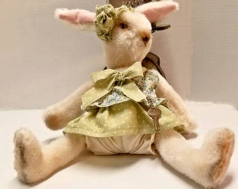 Dressed Stuffed Bunny Artist Doll, White Viscose Fur Easter Teddy Rabbit, Collectible Stuffed Animal Gift