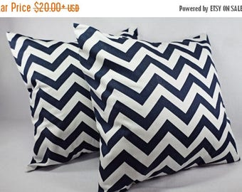 15% OFF SALE 2 Chevron Pillow Covers Blue and White - Throw Pillow Cushion Cover Decorative Pillow Cover 12x16 12x18 14x14 16x16 18x18 20x20