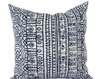 15% OFF SALE Two OUTDOOR Pillows - Navy and White Pillow Cover - Navy Blue Throw Pillow Cover - Aztec Pillow - Tribal Pillow - Patio Pillow