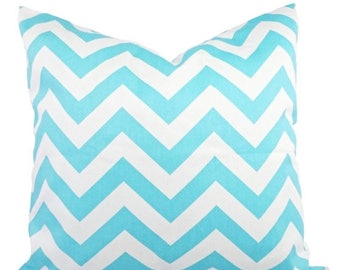 15% OFF SALE 2 Chevron Decorative Pillow Covers Teal and White - Aqua Throw Pillow Cushion Cover Accent Pillow - 12x16 12x18 14x14 16x16 18x
