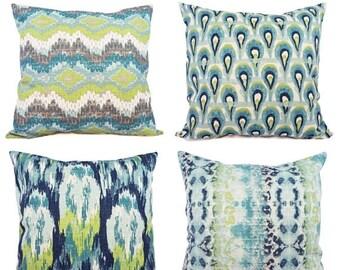 15% OFF SALE Blue Ikat Pillow Cover - Blue and Green Ikat Pillow Cover - Blue Pillows - Decorative Pillow - Blue Euro Sham - Green Ikat Pill
