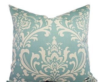 15% OFF SALE Damask Pillow Cover - Two Spa Blue Damask Decorative Pillow Covers Light Blue and Beige - Blue Throw Pillow Cushion Cover Accen