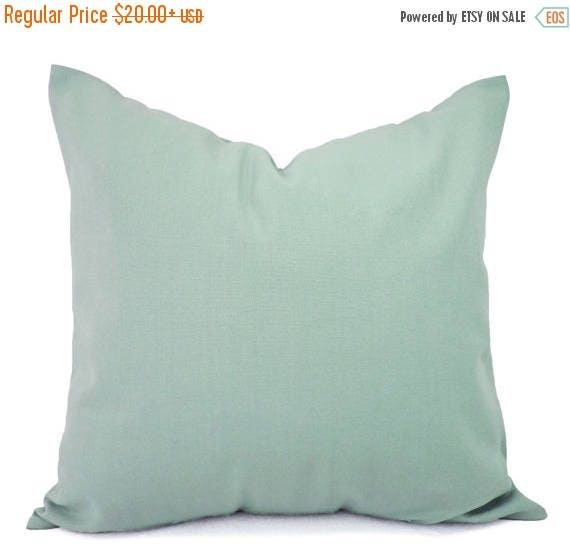 OFF SALE Two Solid Spa Blue Throw Pillow Covers Blue
