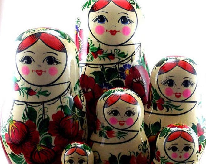 Nesting Dolls 10 pcs Russian Matryoshka doll Babushka doll Russian stacking dolls for kids Art dolls Wooden russian doll Sudarushka