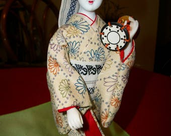 1960's Geisha Doll holding drum from Japan