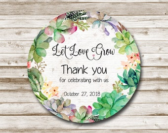 Thank You Tags Printable Thank You Favor Tags, Thank You Stickers Printable Thank You Tags Custom Succulent Let Love Grow Tags