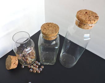 Set of 3 Clear Glass Bottles with Cork Stoppers | Graduated Storage Containers | Kitchen Jars | GreenTreeBoutique