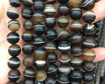 A, 10mm Coffee Agate Matte Beads, Natural Stone Beads, Loose Gemstone Beads Round 15''