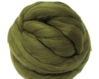 SALE Merino / Silk  Roving, (Olive)