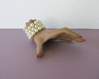 Vintage 50's 60's White Faux Pearl Wire Wrap Bracelet