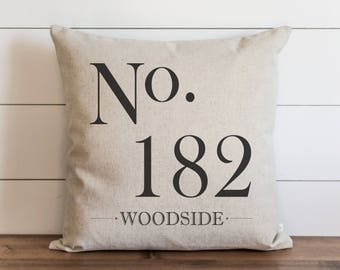 Custom No. Last Name 20 x 20 Pillow Cover // Everyday // Wedding  // Typography // Housewarming // Anniversary // Initial // Gift // Accent