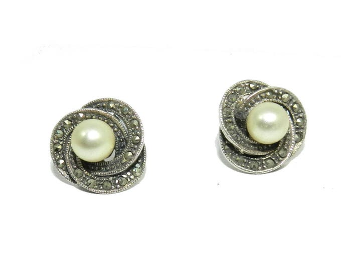 Vintage 925 Sterling Silver Cultured Pearl Marcasite Post Stud Earrings, Vintage Sterling Jewelry Jewellery, Gift Ladies Womens Earrings