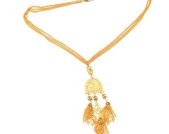 Vintage Filigree Tassle Tassel Fringe Dangly Dangling Chains Long Bright Gold Necklace