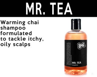 Mr. Tea Shampoo. Fair Trade Organic Vegan Cruelty-Free Cosmetics. 5% of Proceeds Proudly Go To Grassroots Charities