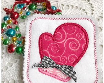 Machine Embroidery Applique Mitten Coaster - Machine Embroidery Instant Download Design