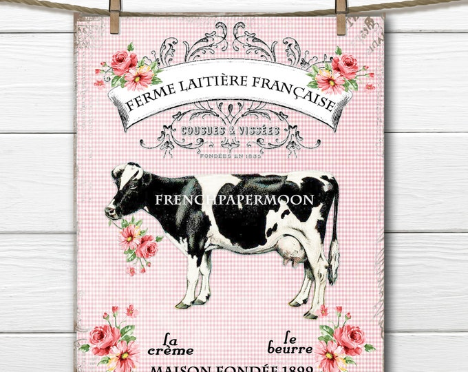 Shabby Digital French Cow Graphic, French Dairy, Flowers, French Graphics, Farmhouse graphic, Fabric Transfer, Kitchen Print