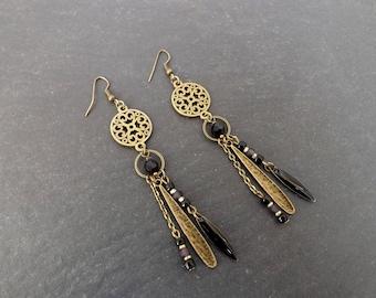 "Earrings ""Clea"" Crystal, glass, epoxy"