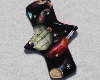 """Minky Topped. Reusable Modern Cloth Pad featuring a space print (26cm/10.25"""")"""