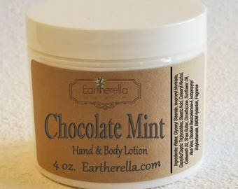 Eartherella CHOCOLATE MINT Hand and Body Lotion Jar 4 oz.