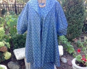 1960s Dress Matching Swing Coat / Dress Blue Brocade Sz 12 / Vintage Dress