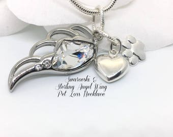 Swarovski In Arms of an Angel Pet Loss Necklace, Pet Loss Gift, Angel Wing Pet Loss Pendant,  Pet Memory Sterling Silver Heart & Paw Charm