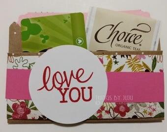Handmade Valentine Gift Card Holder Love You Card Pink Tea Bag Holder Paper Gift Card Envelope Pink Valentine Card  Valentine for Her