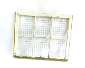 Vintage Farmhouse Window Frame with Chicken Wire, Photo Collage Display, Wedding Photos, Lot 6