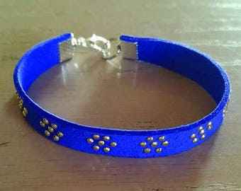 Bracelet wide blue Royal and silver rhinestones Ref: BR 247