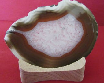 Very decorative Tea-Light made from Agate Slab, wooden Candle-Holder