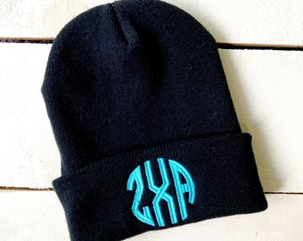 Sorority Beanie YOUR MONOGRAM Beanie Embroidered Slouchy Hat Custom Greek Designs