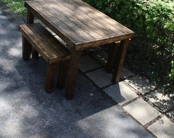 sale beautiful primitive dark walnut stained pub style tall kitchen table wtwo matching benches - Primitive Kitchen Tables