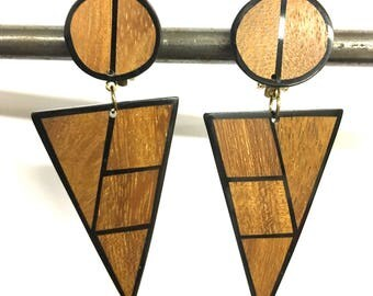 Vintage wood embedded in lucite clip on earrings