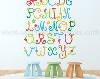 Alphabet Nursery Wall Decal - Playroom Wall Decal - Educational Wall Decal - Flower Wall Decal - Girls Room Decal  01-0008
