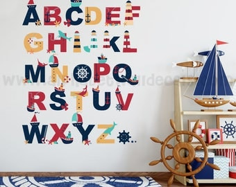 Alphabet Wall Decal - Alphabet Decal - Nautical Nursery Wall Decals - Playroom Wall Decal - Play Room Wall Decal - Wall Sticker - 01-0026